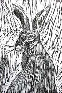 the hare woodcut